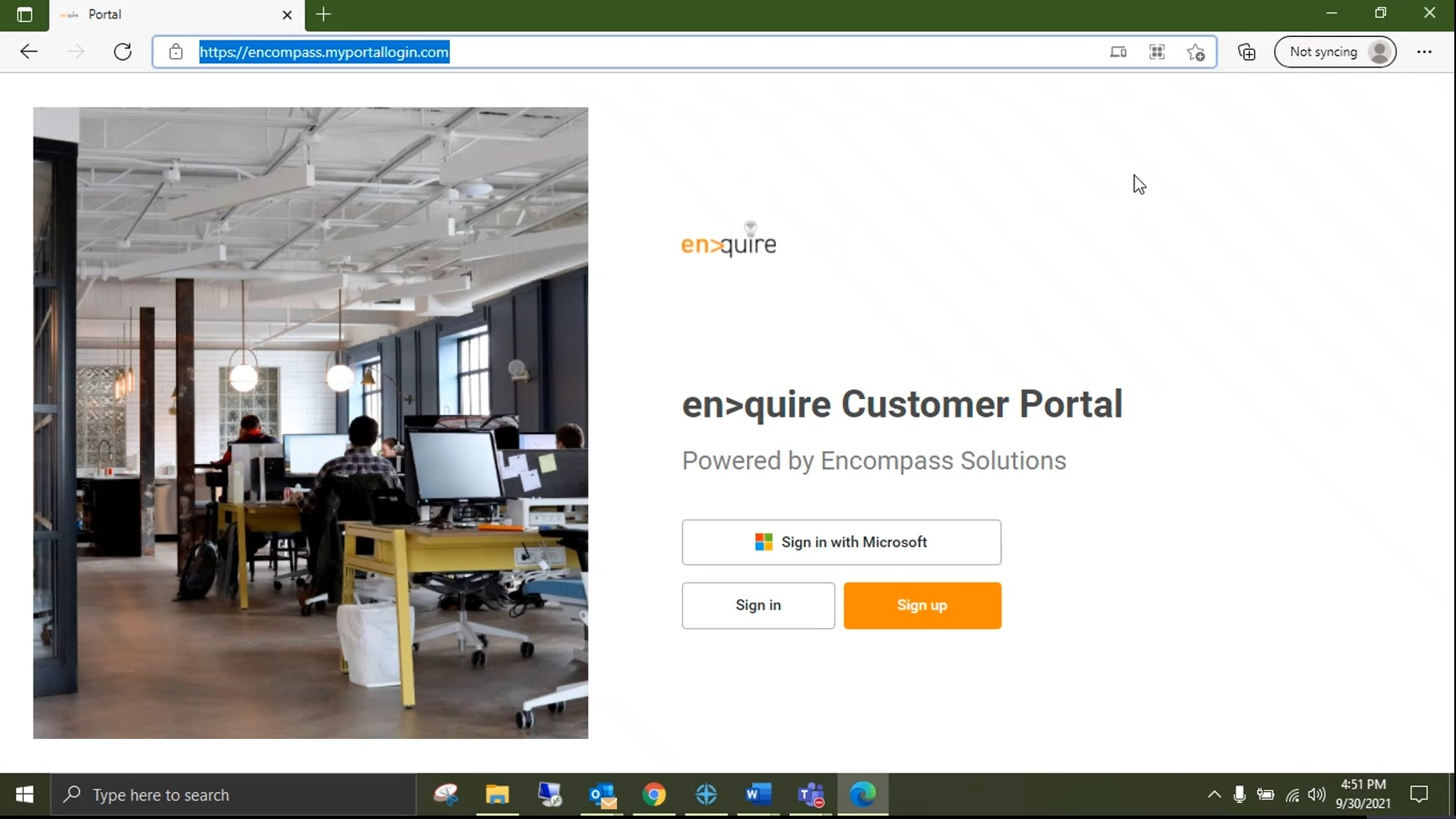 Enquire Sign In with Microsoft